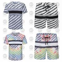2021 رجل الشاطئ مصممي رياضية الدعاوى الصيف أزياء تي شيرت شاطئ البحر القمصان السراويل السراويل مجموعات رجل فاخرة مجموعة ملابس رياضية