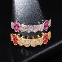 18K Gold Teeth Braces Punk Hip Hop Multicolor Diamond Custom Bottom Teeth Dental Mouth Fang Grills Tooth Cap Vampire Rapper Jewelry 48 T2