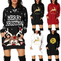 Women's Hoodies Mid Length Printed Sweatshirts Christmas Style with Side Pockets 3XL