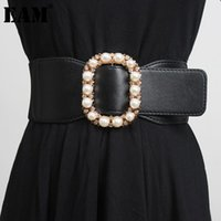 Belts [EAM] Pearl Decoration Multicolor Pu Leather Belt Personality Women Fashion Tide All-match Spring Autumn 2021 1DD3297