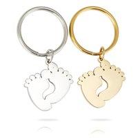 الصلب / الذهب 10 قطع المعادن نقش المفاتيح مفتاح الطفل مفتاح فارغة الصلب بالجملة قدم القدم مرآة مصقول سلسلة غير القابل للصدأ wtfle