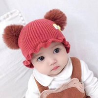 Caps & Hats Born Baby Skullies Beanies Hat Girl Knitted Wool Autumn And Winter Keep Warm Thin Section Outdoor Casual Travel YW0003