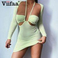 Casual Kleider VIIFAA Halter Hals Ausschnitt Langarm Frauen Licht Grün Bodycon Party Robe Weibliche Zweiteiler Kleid Sets