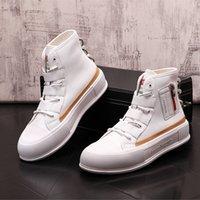 Moda Nowy Luksusowy Czarowne Mężczyźni White Style Casual High Top Buty Mieszkania Mężczyzna Designer Prom Sneakers Loafers Zapatos Hombre