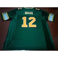 668 Edmonton Eskimos # 12 Jason Maas White Green Real Full Stickerei College Jersey Größe S-4XL oder Benutzerdefinierte Name oder Nummer Jersey