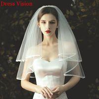 2021 Heißer Verkauf Kurzhochzeit 2 Schicht Mesh mit Kamm Elfenbein Schleier Zwei-Schicht Einfache Stil Brautzubehör 3HSQ