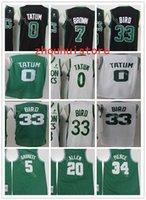 "2021 2022 Homens Boston ""Celtics"" Basquete Jersey Kemba 8 Walker Jayson 0 Tatum Bill 6 Russell Larry 33 Pássaro Paul 34 Pierce 20 Allen ""NBA"" jerseys"