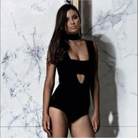 Women's Jumpsuits & Rompers Women Sexy Pink Beige Black White Bodycon Bandage Bodysuit 2021 Knitted Stretch Designer