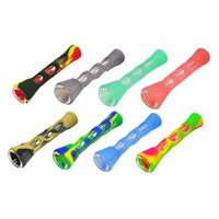 Colorful Vape Kit Tobacco Pipe Silicone Pipes Smoking Tube Mini Holder Dry Herb Portable Hookah Wax Oil Burner Hand Dab tool