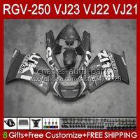 Carrocarrilos para Suzuki RGVT RGV 250 CC VJ23 RVG250 250cc Cowling Lucky Grey Stock RGV-250CC Body 107HC.151 RGVT-250 VJ 23 1997 1998 RGV-250 Panel RGV250 SAPC 97 98 PAQUETE OEM