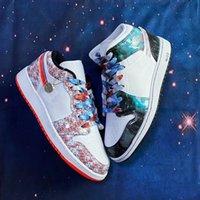 2021 고품질 SE가 항공편 농구 신발을 타고 1s 1 화이트 레드 블루 블랙 누설 3D 스포츠 스니커즈 패션 레트로 멋진 야외 신발