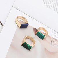 Cluster Rings KOMi Metal Alloy Turquoises Malachite Stones For Women Couple Gifts Geometric Square Knuckle One Size US 7 K3696