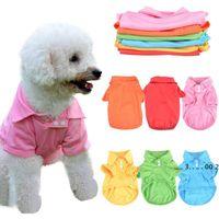 لون الحلوى الحيوانات الأليفة تي شيرت جرو بولو طوق الكلب قميص صغير الكلب القط الملابس الصيف تيدي تي شيرت XS-XL EWA4210