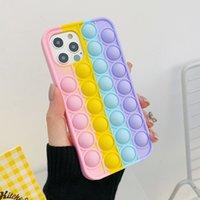 Pop it fidget Case Unique 3D Decompression Phone Cases toys For Iphone 12 Mini Pro 11 XR Push Soft Silicone Rainbow Fashion Cellphone Back Skin Mobile Cover