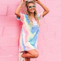 2021 New Summer Dress Dress Donne Sexy O Neck Manica Corta Tie-Dye Stampa Pocket Tasca lunga Tshirt Casual Beach Beach Abiti da festa femminile BWR2