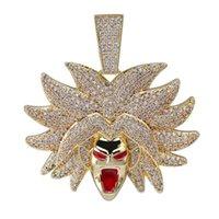 Kolye Kolye Topgrillz Broly Kolye Buzlu Kübik Zirkon Hip Hop Altın Gümüş Renk Erkek Kadın Charms Zincir Takı