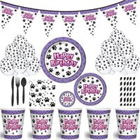 Disposable Dinnerware Dog Theme Party Decoration Tableware Set Cup Plates Kids Birthday Decorations Supply Baby Shower