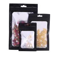 Gift Wrap 100Pcs/Lot Black Aluminum Mylar Foil Matte Clear Plastic Bag With Hang Hole Zipper Grip Seal Tear Notch Food Candy Tea Pouches