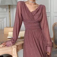 Casual Dresses Vintage Glitter Long Maxi Dress Women Spring High Waist Sleeve Elegant Boho Shiny Party Plus Size Sexy A872