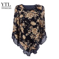 Yitonglian Donne vintage stampa floreale Sciarpa con scollo a V Party Farfalla Top Mesh Camicetta Plus Size Slipa V-Hemline Shirt Long H369 210315