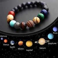 Galaxy otto pianeti Braccialetto perline per uomo in pietra naturale universo universo sistema solare yoga chakra braccialetti per uomini gioielli donne 2019 160 Q2