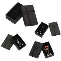 32pcs Jewelry Box 8x5cm Black Necklace for Ring Gift Paper Jewellery Packaging Bracelet Earring Display with Sponge 211014