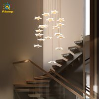 النجمة الحديثة قلادة ضوء مصباح السقف الحديد الاكريليك دوامة أضواء شنقا الفنية للمنازل ديكور غرفة الأطفال