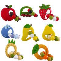 baby fruit teether Cartoon Silicone Fruits Toys Strawberry Mango Teethers Bracelet teething M3561