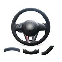 Couvercle de volant en daim noire doux doux de bricolage sur mesure pour Mazda 3 2 6 / CX-3 2016-2017 CX-5 2013-2016