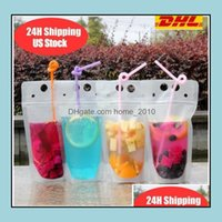 Cups Sts Kitchen Supplies Kitchen, Dining Bar Home & Gardenus Stock Disposable 24H Ship Clear Drinks Pouches Plastic Drinking Bag With St Re
