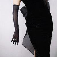 Черные шелковые перчатки 52 см Удлиненная секция Высокая эластичная кружевная сетка пряжа Черный вечер Vestido de Noche Bride Marry Touch WWS04 201021