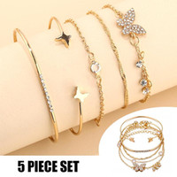 Charm Bracelets 5pcs Butterfly Bracelet With Opening Rhinestone Inlaid Vintage Simple Fashion Gift For Women And Girls EA
