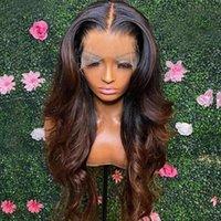 Spitze Perücken Ombre 1b / 30 Blonde braun farbige HD Transparent Frontal 13x6 Vordere menschliche Haarperücke für Frauen Vorplucker Körperwelle