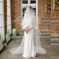 Bridal Veils TOPQUEEN V30 Two Tier Minimalist Wedding Veil With Blusher Bachelorette Party Bride Accessories