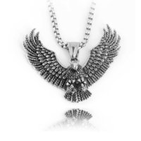 Hip Hop Retro Titanium Stainless Steel Necklace Wings Eagle Pendant Men's Domineering High Quality Jewelry