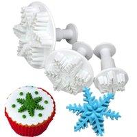 Bakmöbler 3st / set Chokladkaka Candy Plunger Mold Snowflake Snöformkaka Fondant Pastry Cutter Decorating Tools