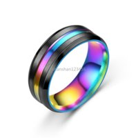 Groove ring band Stainless Steel Blue Rainbow finger Contrast color rings for women men fashion jewelry will and sandy