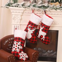 Christmas Decorations Cute Stockings Socks Holders Pockets Pouch Elk Snowflake Print Exquisite Pattern Gift Bag Xmas Party Home Decor