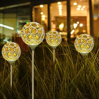 Lawn Lamps 2Pcs LED Solar Light Crystal Ball Waterproof Ground Plug Outdoor Landscape Night Lighting Accessories