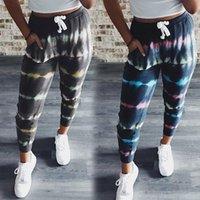 Pantalones de impresión de tinte de corbata Pantalones deportivos para mujer Lace-up Pantalones de verano Slim-Fit Slim Pantalones casuales con bolsillos