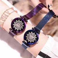 Lüks erkek ve kadın saatler tasarımcı marka saatler romantik, buklet magntique, mod dames, strass fleur tr Acier, maille ceinture