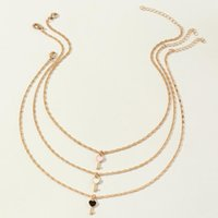 Chains 3pcs set Bohemian Pink White Black Key Shape Pendant Necklace Women Simple Personality Daily Jewelry Birthday Gift