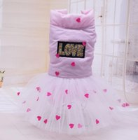 Dog Apparel Pink Yellow Colors S-xxl Sizes Dresses For Dogs Autumn And Winter Lace Design Tutu Pets With Love Printed Warm Jackets
