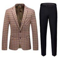 Men's Suits & Blazers The Latest Men Business Banquet Suit 2piece Set Large Size S-6XL Fashionable Mens Plaid And Pure Color Pants