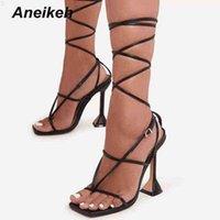 Aneikeh kadın ayakkabı çapraz bağlı kafa peep toe dar bant patchwork moda yüksek topuklu düğün sandalias mujer yaz 210608 GX3C