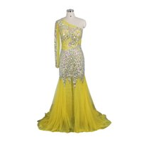 2022 Luxurious Yellow Evening Dresses One Sleeve Crystal Beads Tulle Pageant Prom Party Gowns Special Occasion Dress Mermaid