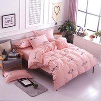 Pink Love Inverno Camera da letto Set di biancheria da letto in cotone egiziano Letto a forma di full Size Set Semplice Semplice, Fedele Cover Duvet Set Girl Quality 210309
