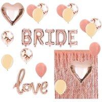Оформление партии Bridal Sweath Bachelorette Украшения Kit Rose Gold- Набор Включает Bride Foil Balloon, любовь воздушный шар