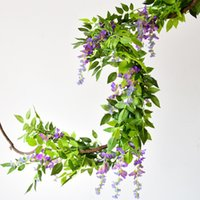 7ft 2m Flower String Artificial Wisteria Vine Garland Plants Foliage Outdoor Home Trailing Flower Fake Hanging Wall Decor RRD7005