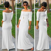 Womens Casual Slash Neck Dresses Women Mini Clothing Sexy Slim Pencil Simple A Line Strapless Wed Dress Floor Length Cheaps For Ladies